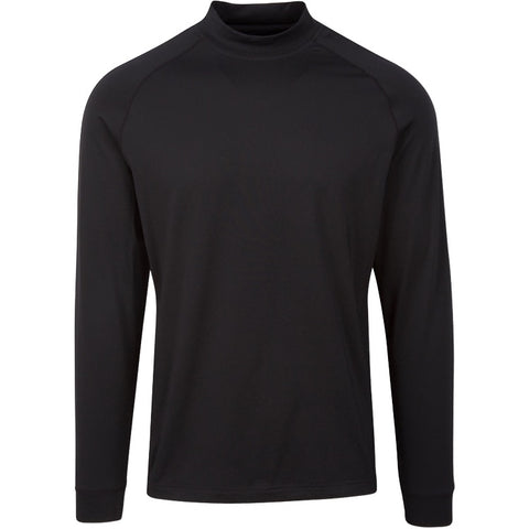 Mens Fairway & Greene Longsleeve Lux Interlock Mock Polo Black