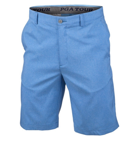 Mens PGA Tour Performance Stretch Tech Shorts Heathered Blue