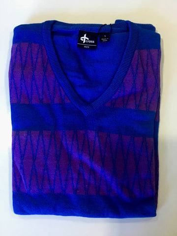 Mens Cross V Neck Sweater Blue - Golf Stitch