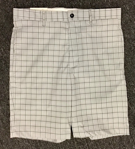 Mens Greg Norman Checked Flat Front Shorts Grey