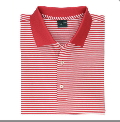 Mens Fairway & Greene Alston Stripe Polo Rocket Red/White - Golf Stitch