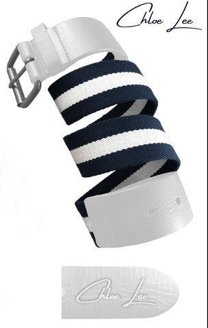 Ladies Chloe Lee Leather Woven Belt White/Navy
