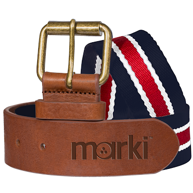 Mens Marki Deluxe Woven & Leather Belt Navy/Red - Golf Stitch
