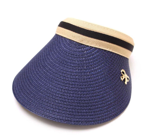 Ladies Chloe Lee Raffia Sun Visor Navy