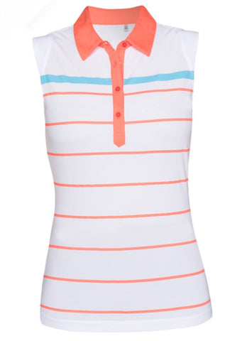 Ladies Nivo Cara Polo Sleeveless Polo White