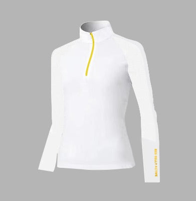 Ladies Red Belly Mesh Longsleeve Polo White