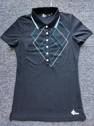 Ladies Cross Argyle Polo Black