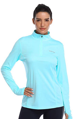 Ladies Hiskywin Longsleeve Sun Top Aqua