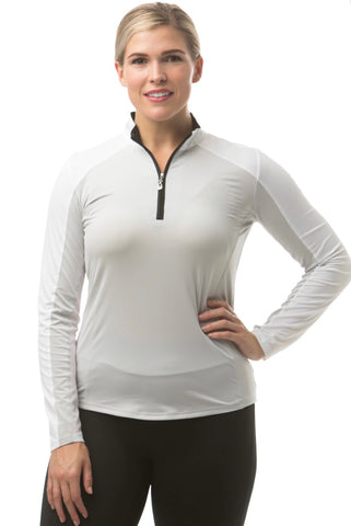 Ladies San Soleil Sunglow Colourblock Longsleeve Top Grey/White