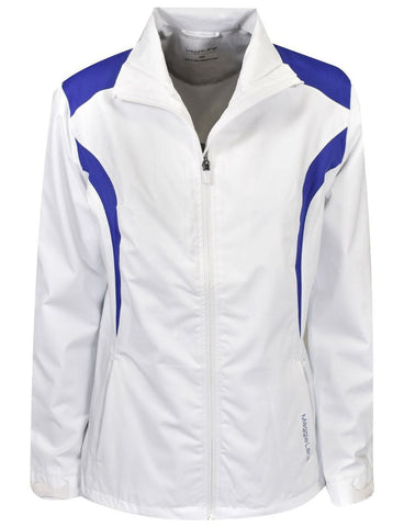 Ladies Maggie Lane Fashion Rain Jacket White - Golf Stitch