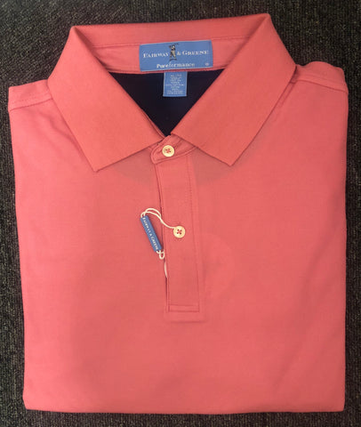 Mens Fairway & Greene Tech Solid Pique Polo Flamingo - Golf Stitch