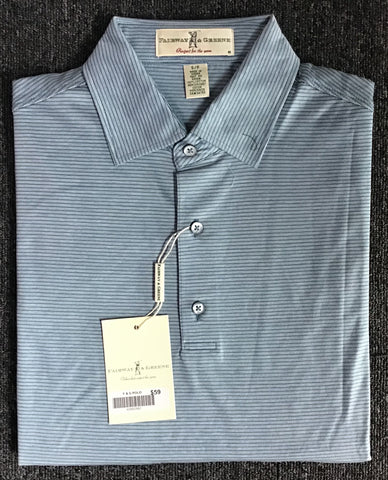Mens Fairway & Greene Chelsea Stripe Lisle Polo Moonlight
