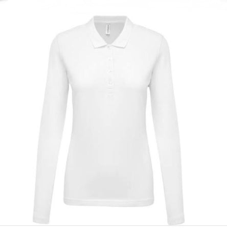 Ladies Calvin Klein Cotton Longsleeve Polo White - Golf Stitch
