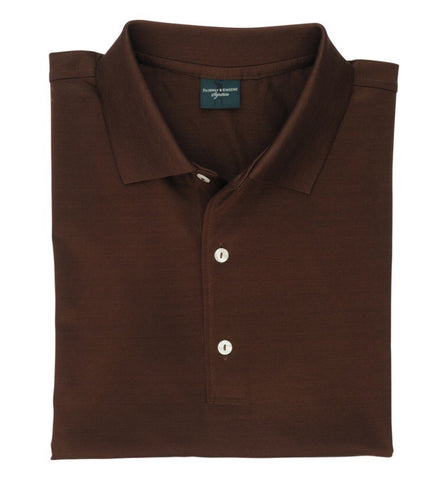Mens Fairway & Greene Signiture Lisle Solid Polo Cocoa - Golf Stitch