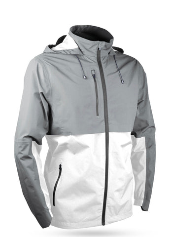Mens Sun Mountain Stratus Waterproof Jacket Platinum/White