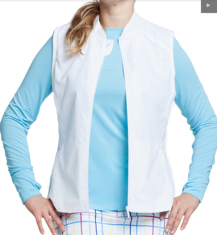 Ladies GG Blue Kacy Windvest White - Golf Stitch