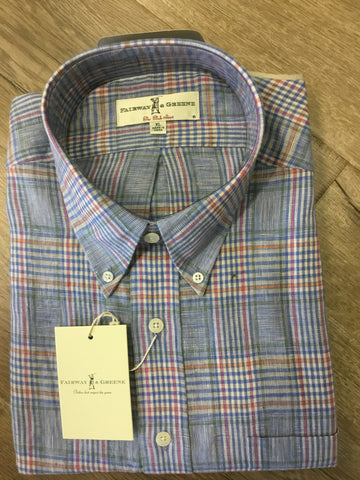 Mens Fairway & Greene Woven Shirt Plaid Pool - Golf Stitch