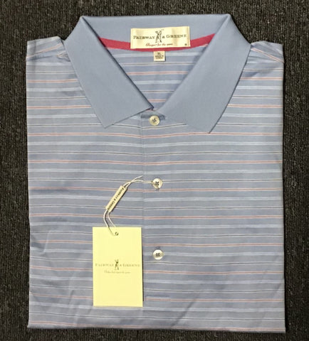 Mens Fairway & Greene Dewey Stripe Lisle Polo Oxford Blue