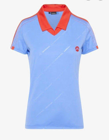 Ladies J.Lindeberg Sana Jersey Polo Silent Blue
