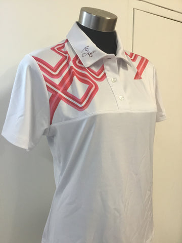 Ladies Fayde Tech Polo White/Pink - Golf Stitch