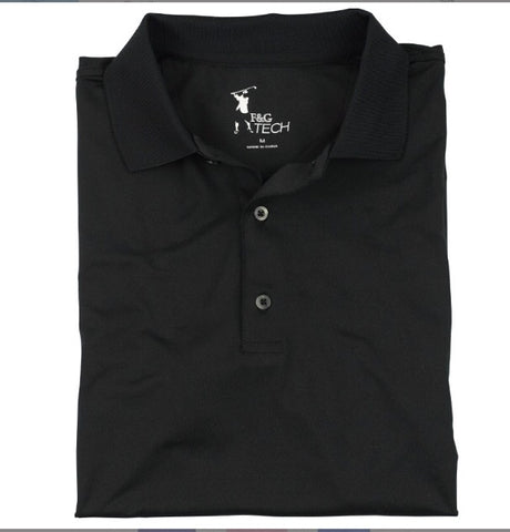 Mens Fairway & Greene Solid Tech Polo Black - Golf Stitch