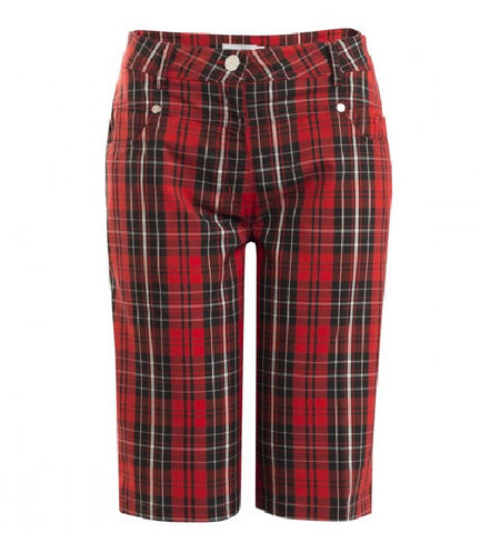 Ladies Green Lamb Trixie Patterned Bermuda Shorts Berry Tartan