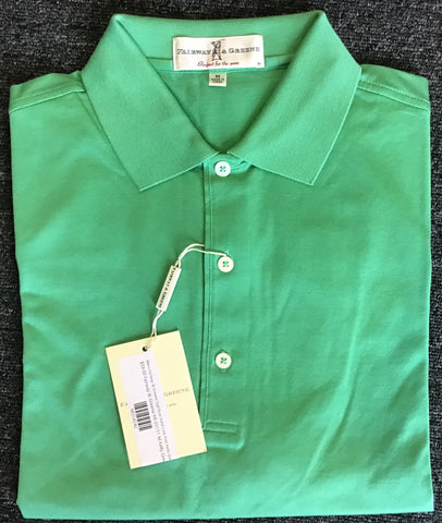 Mens Fairway & Greene Signiture Solid Lisle Polo Kelly Green
