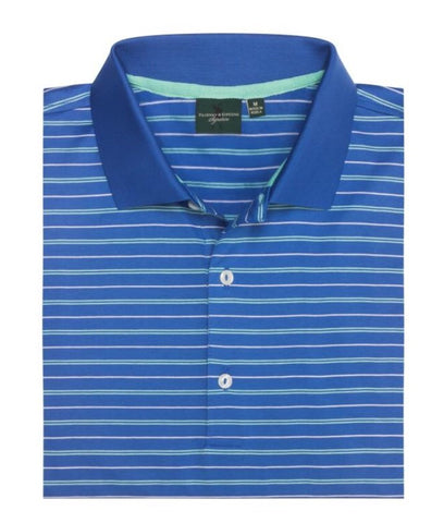 Mens Fairway & Greene Baker Stripe Lisle Polo Blue Bonnet - Golf Stitch