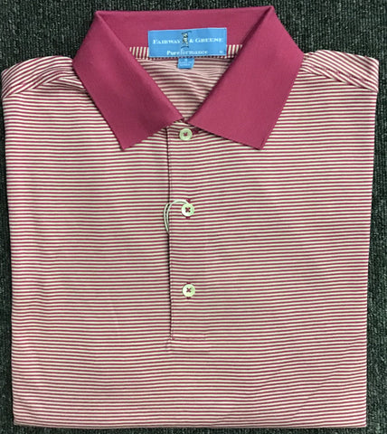 Mens Fairway & Greene Mini Stripe Performance Polo Boysenberry - Golf Stitch