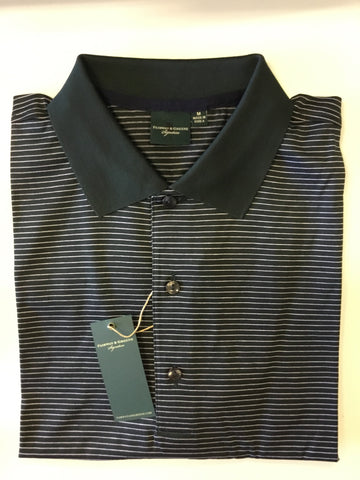 Mens Fairway & Greene Signature Fine Stripe Polo Dark Green/White - Golf Stitch