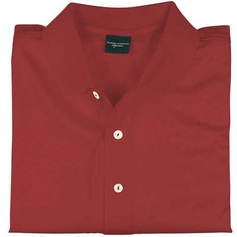 Mens Fairway & Greene Signiture Solid Polo Red - Golf Stitch