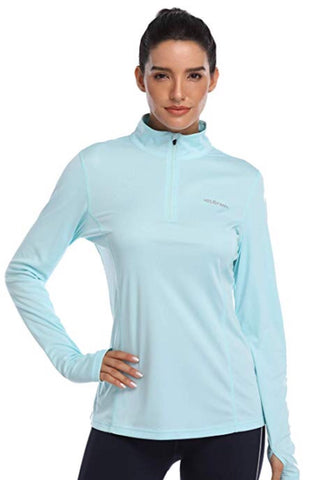 Ladies Hiskywin Longsleeve Sun Top Light Blue