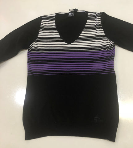 Ladies Cross Long Sleeve W Fringe V Neck Sweater Stripe Black/Purple/White - Golf Stitch