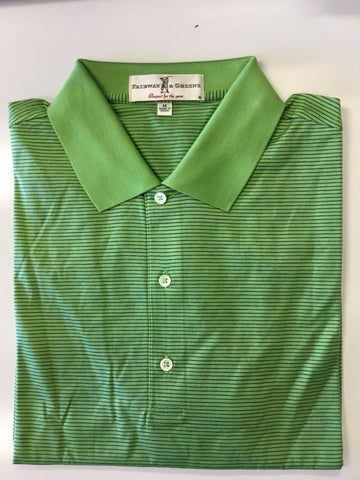 Mens Fairway & Greene Atlantic Stripe Polo Grass/Navy - Golf Stitch