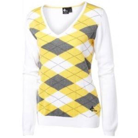Ladies Cross Argyle V Neck Sweater White/Yellow - Golf Stitch