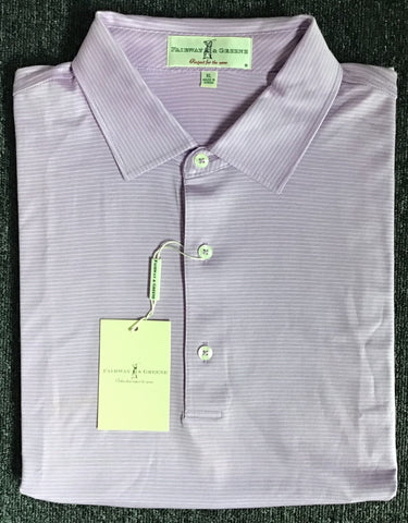 Mens Fairway & Greene Chelsea Stripe Lisle Polo Thistle