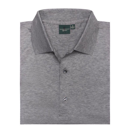 Mens Fairway & Greene Signiture Solid Lisle Polo Grey Heather - Golf Stitch