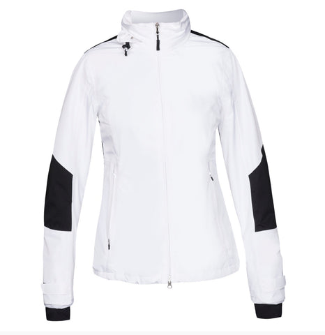 Ladies Nivo Kim Waterproof Jacket White - Golf Stitch