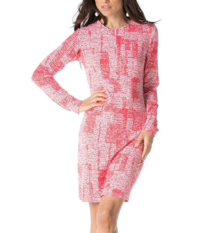 Ladies IBKUL Diane Print Dress Watermelon/White