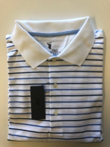 Mens Fairway & Greene Tech Pique Polo White/Blue/Navy - Golf Stitch
