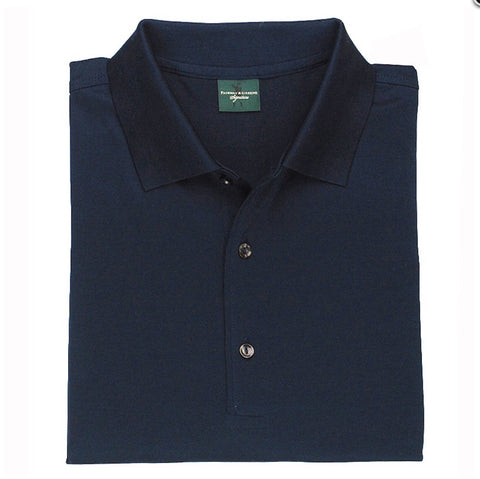 Mens Fairway & Greene Signiture Solid Lisle Polo Navy - Golf Stitch