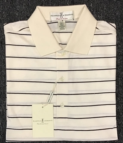 Mens Fairway & Greene Cullin Stripe Lisle Polo Vanilla
