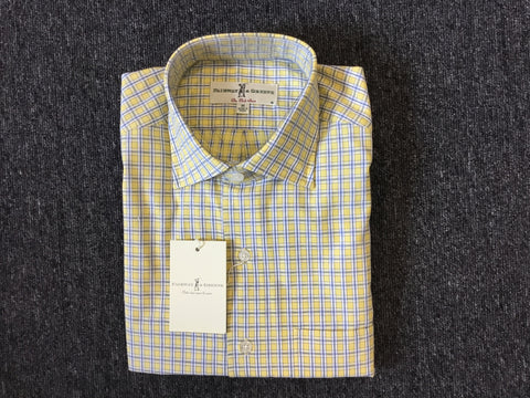 Mens Fairway & Greene Middleboro Woven Longsleeve Shirt Lemon - Golf Stitch