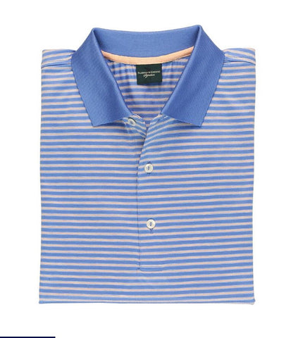 Mens Fairway & Greene Vernon Stripe Lisle Polo Coral - Golf Stitch