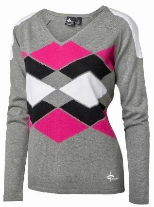 Ladies Cross Gimme V Neck Sweater Light Grey