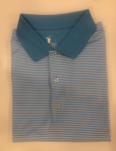 Mens Fairway & Greene Roosevelt Stripe Tech Jersey Polo Tidal Blue - Golf Stitch