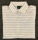 Mens Fairway & Greene Collar Stripe Lisle Polo Blue/White