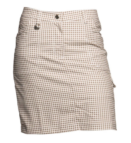 Ladies Daily Sports Elana Check Skort White/Bark