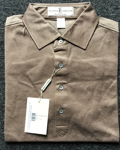 Mens Fairway & Greene Jacquard Stripe Lisle Polo cognac