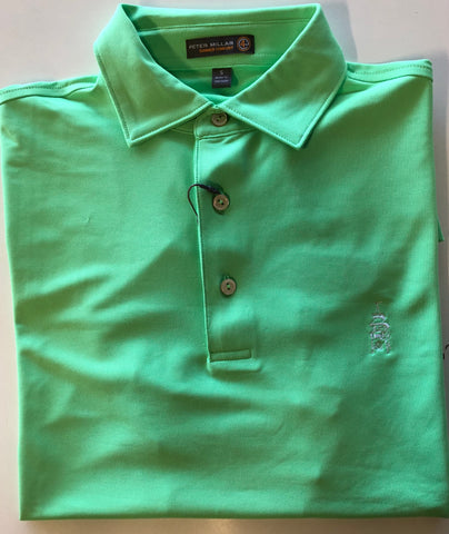 Mens Peter Millar Tech Polo Green - Golf Stitch